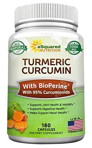 Turmeric Curcumin 1300mg with BioPerine Black Pepper Extract - 180 Capsules - with 95% Curcuminoids, 100% Natural Tumeric Root Powder Supplements, Pure Anti-Inflammatory, Joint Pain Pills