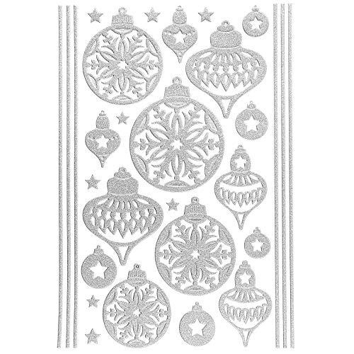 Ideen mit Herz 3-D Sticker Deluxe | Winter & Weihnachten | Erhabene Aufkleber | ideal für Weihnachts-Deko & Weihnachtskarten basteln | Bogengröße: 21 x 30 cm (Weihnachtskugeln | Silber)