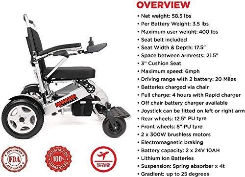 Porto Mobility Ranger Quattro XL Heavy Duty Ultra Exclusive Lightweight Foldable Electric Wheelchair, Weatherproof, Stronger, Longer Range Super Horse Power Dual Motorized All Terrain (XL)