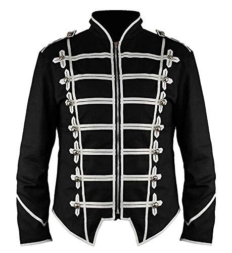 Ro Rox Steampunk Military Drummer Emo Punk Gothic Parade Jacket - Black (M)
