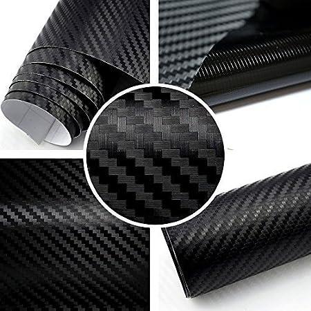 Tiptopcarbon 6 58 M 3d Carbon Folie Schwarz Blasenfrei 0 3m X 1 52m Mit Luftkanäle Autofolie Selbstklebend Küche Haushalt