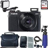 Canon PowerShot G9 X Mark II Digital Camera (Black) with 64 GB + LED Compact On-Camera Light Card + Premium Camera Case + 2 Batteries + Tripod