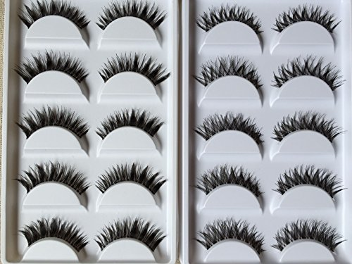 New 10 Pairs Thick Crisscross Long False Eyelashes Fake Eye Lashes Voluminous Makeup by Pretty Box