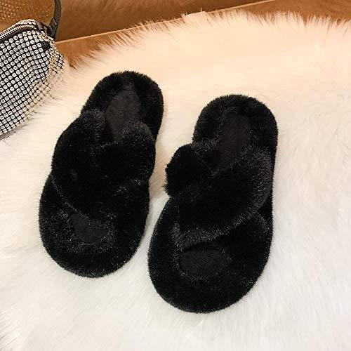 N/A Chanclas con Abrebotellas, Pantuflas Peludas, Pantuflas Cruzadas De Color SóLido De Moda De OtoñO E Invierno para Mujer, Zapatos De Interior-Black_35