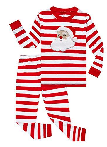 Family Feeling Little Girls Boys Santa Claus Christmas Pajamas Sets 100% Cotton Sleepwears Kids Pjs Size 7 Striped