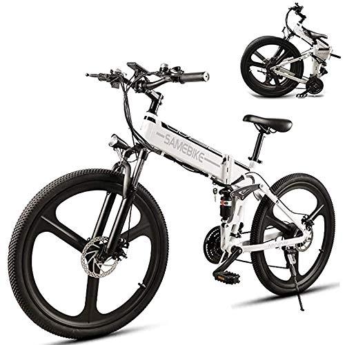 SYXZ Elektrofahrrad, 26-Zoll-Falt-Mountainbike, Fat Tire Ebike, mit 48 V 10,4 Ah 350 W Lithium-Ionen-Akku, 21-stufig schaltunterstützt, Stoßdämpfungsmechanismus,Weiß