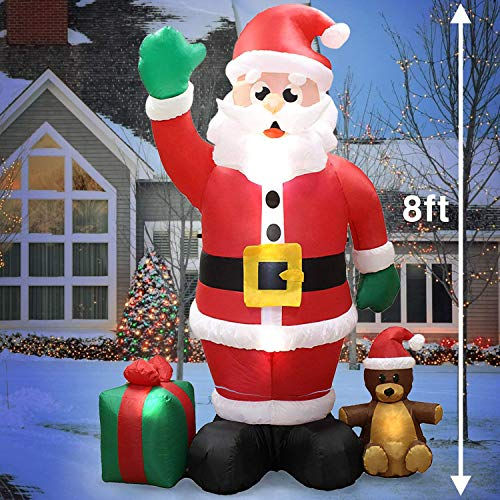 Joiedomi Christmas Inflatable Decoration 8 ft Giant Christmas Self Inflatable Santa Claus LED Light Up Blow Up Yard Décor for Xmas Holiday Indoor/Outdoor Garden Party Favor Supplies.