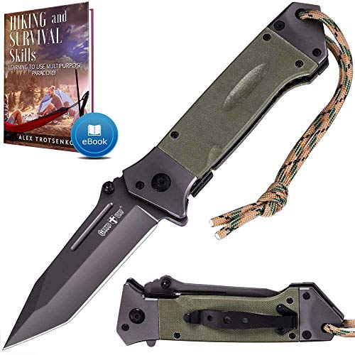 Pocket Knife Spring Assisted Knife - Folding Tactical Knives Japanese Tanto Blade Knives - Ninja Assisted Opening Knife - Best for Camping Hiking EDC Work Knife Birthday Christmas Gifts for Men 6688
