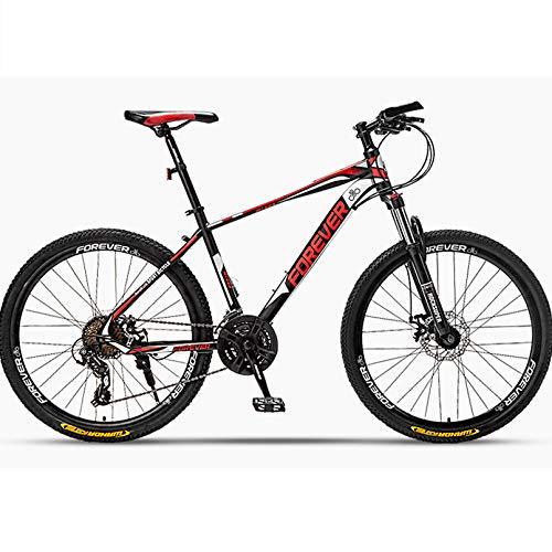 24/26/27,2 Pollici Mountain Bike 24/27 velocità Hardtail Mountain Bike MTB, Leggero Acciaio al Carbonio per Uomini/Donne,Black Red,27.5In 24Speed