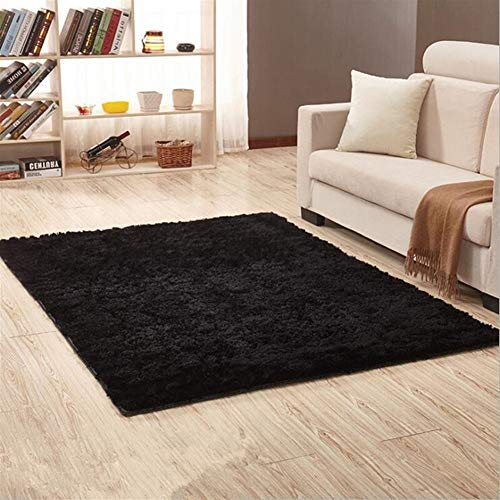 Jnszs Alfombra suave peluda de piel sintética Alfombra de suelo antideslizante para sala de estar, dormitorio o casa alfombra (color: negro, tamaño: 50 cm x 120 cm)