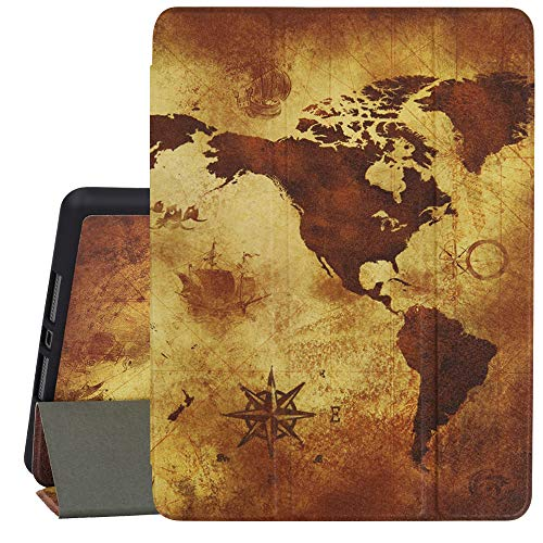 Hepix Map iPad 7th Generation Case Trifold Smart Case for New 10.2-Inch iPad Case with Pencil Holder Auto Wake/Sleep, Shock Absorption World Map in Retro Color with Vintage Nostalgic Design (A2197)
