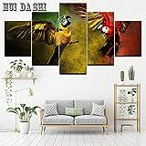 jasonding Wandbild Leinwand Gemälde Wandkunst Wohnkultur Wohnzimmer Hd Gedruckt 5 Stücke Papagei Gruppe Poster Bunte Vögel Modulare Bilder-(Rahmen)-100cm