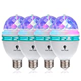 4 Pack Color Rotating Bulb E26, RGB Color Changing Party LED Bulbs Colored LED Strobe Light Bulb Multi Crystal Stage Lights For Disco, Birthday Party Club Bar For Indoor & Outdoor Parties, Photography
