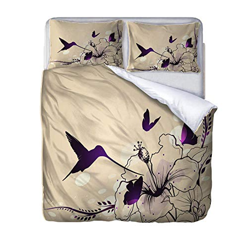 zzqxx Home Superking Duvet Cover Set Flowers and birds Bed Set Quilt Cover with Zipper Soft 100% Polyester Includes 2 Pillow Cases 3D Printed Bedding for Boys Girls Adults 260x220cm