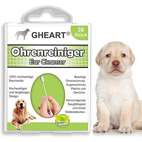 GHEART Ohrenpflege Ohrstäbchen für Hunde Katzen, 36 Stück, Enthält Aloe Vera Extrakt, Glycerinextrakt, beugt Ohrenzwang Ohrenentzündung, Bakterien oder Ohrmilben vor mit speziellen Wattestäbchen