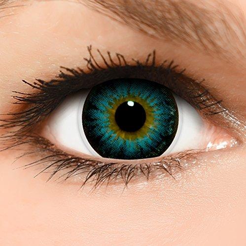 Circle Lenses blaue 'Circle Blue' farbig ohne und mit Stärke + Behälter 14,50mm farbige Kontaktlinsen