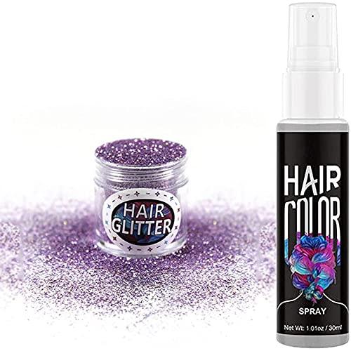 Spray para teñir el cabello instantáneo con purpurina en polvo, creativo, desechable, lavable, temporal, para teñir el cabello, para teñir el cabello, para fiestas, cosplay, mascarada (Gris)