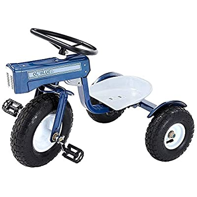 Tricam GCK-31 Kids Tractor Tricycle with Adjustable Seat, Steel Construction, Real Pneumatic Tires from Tricam