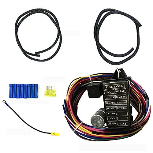 N\C Circuit ArnéS de Cableado Universal ArnéS de Cableado para AutomóVil 12 Circuitos Y 14 Fusibles Kit de ArnéS de Cables Cables Largos de 12 Voltios Accesorios Universales