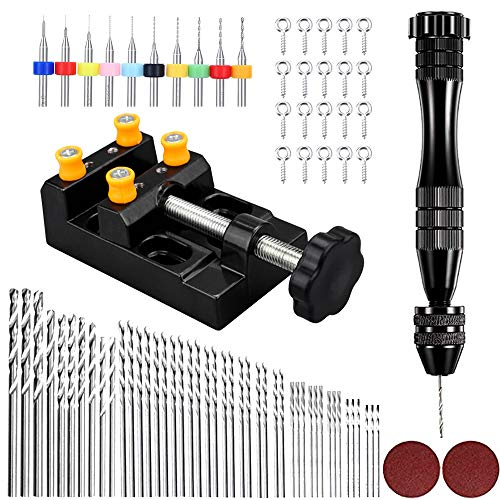 82PCS Pin Vise Hand Drill Bits Set 0.5-3.0mm Precision Micro Twist Drill Bits with Bench Vice Carving Clamp and 20 PCS Screw Eye Pin for Wood Plastic DIY Jewelry Keychain Pendant Making Craft Carving