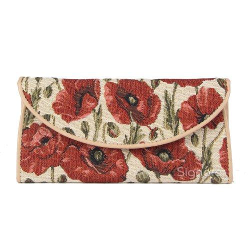 Signare Tapestry Arazzo portafoglio donna, portatessere donna, portafogli donna, Lady Wallet con Disegni da Giardino (Papavero)