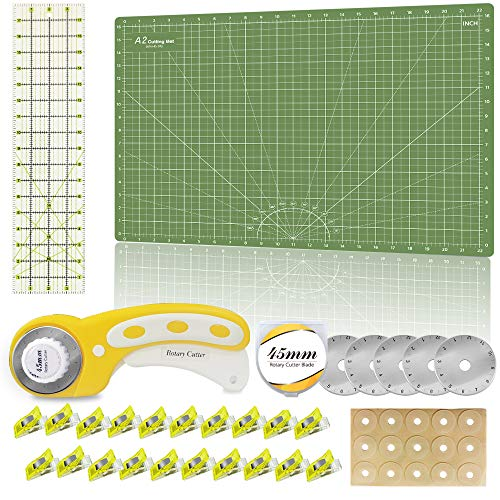 Headley Tools Rotary Cutter Sets-Quilting Kit Include 45mm Fabric Cutter,5pcs Replacement Blades,A2 Self Healing Cutting Mat,Quilt Ruler,Adhesive Non-Slip Grips,Craft Clips(Green)