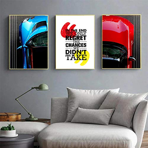 VVSUN Cuadro de Lienzo nórdico The Chances We Don't Take Picture Arte de Pared Carteles de Coches Azules y Rojos para decoración del hogar 40X60cm 16x24inchx3 Sin Marco