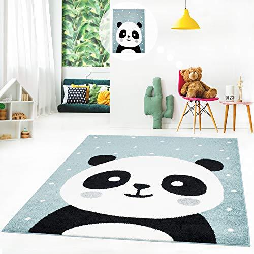 MyShop24h Kinderteppich Kurzflor Spielteppich Teppich fürs Kinderzimmer Flachflor mit Panda-Bär weiß gepunktet in 3 Farben, Größe in cm:120 x 160 cm, Farbe:Pastell Blau