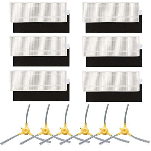BBT BAMBOOST Replacement Parts Fit for Eufy Robovac 11+ & 11 Plus Vacuum Cleaner Accessories - Filters and Side Brushes (Pack of 12)