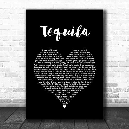 Tequila zwart hart lied lyrische citaat muziek poster print Medium A4