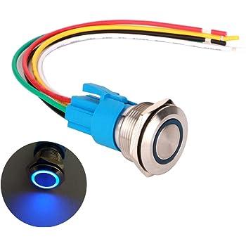 22mm 12V Blu LED ROSSO INOX Interruttore Momentaneo aggancio a pulsante impermeabile