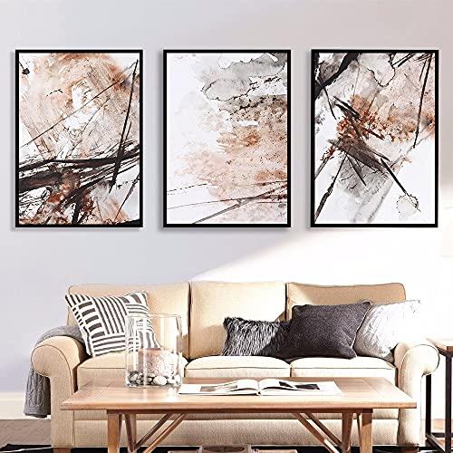 Moderne minimalistische Kaffeewandkunst chinesische Tuschemalerei-Spritzplakate druckt Leinwandbilder für Wohnzimmer-Wohnkultur 30x45 CM (Kein Rahmen)