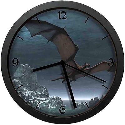 BCWAYGOD Dragon at NightWallSilent Wall Clock, 12 inch Non Ticking Wall Clock Battery Operated,