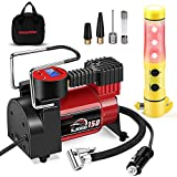 Smashier Portable Air Compressor Tire Inflator - 12V DC Digital Pump with Gauge for Car, Motorcycle, Ball, Air Matresses, 3.7M Extended Cord, Upgraded Quick Connector, Extra Fuse, Easy &Fast Inflation