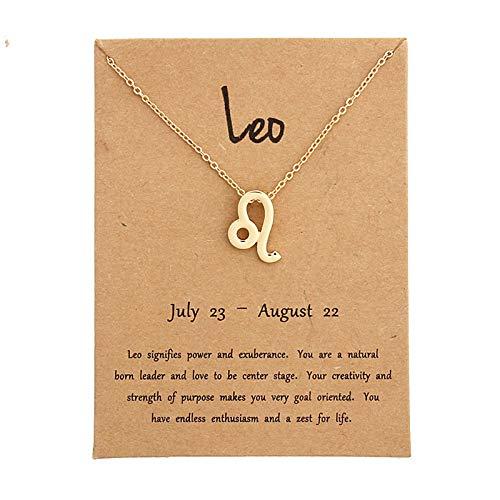 Sternbild Halskette,Leo Astrologie Sternzeichen Gold Anhänger Mit Halskette, Frauen Männer 12 Horoskop Sternzeichen Anhänger Mit Halskette Handgefertigte Personalisierte Schmuck Kinder Geschenke