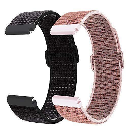 Correa para Gear S2 Classic/Sport/Vivomover HR, Correa de reloj de nailon 20mm para Galaxy Watch 3 41mm/Galaxy Watch Active 2/Active 40mm 42mm/Vivomove/Watch2 pro/Moto 360 2nd Gen Men's 42mm