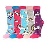 Zmart Unicorn Socks Girls Crazy Cute Rainbow Unicorn Crew Socks, 5 Pack Gift Box
