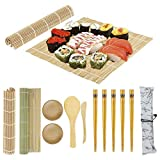 12 Pack Sushi Making Kit, Beginner Sushi Rolling Mat for DIY Sushi, Includes 2 Bamboo Roller Mats, 1 Rice Paddle, 1 Rice Spreader, 5 Pairs Chopsticks, 2 Plates, 1 Canvas Chopstick Bag