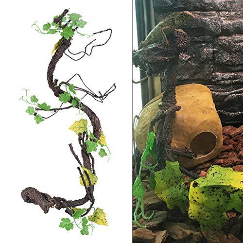 HEEPDD Reptile Spielzeug Rotang Peddigrohr, künstliches Rattan Klettern Dschungel Wand Biege AST Terrarium Käfig Nistplatz Dekor für Eidechse Spinne Chamäleon Schlangen Gecko andere Kleintiere (L)