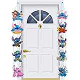 Stitch Happy Birthday Porch Sign Banner Decoration Theme Cartoon Character Stitch Birthday Party Supplies for Kids Party Indoor and Outdoor Decor Boys Girls