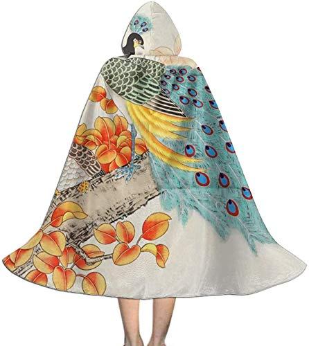 Romance-and-Beauty Capa para niños Capa con Capucha Pintura China Pavo Real Pájaro China Capa Unisex Capa para Halloween Fiesta de Navidad Disfraces de Cosplay