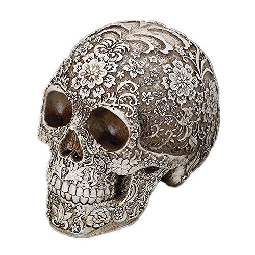 Decoración de calavera tallada con cabeza de calavera blanca para Halloween, decoración de fiesta, decoración de calavera, adorno para el hogar