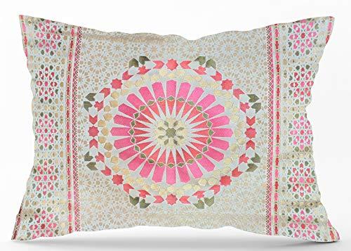 Funda de cojín con diseño de salón marroquí con textura de seda jacquard con patrón geométrico de azulejos bordados, 70 x 50 cm, Pink Red & Green, 70 x 50 cm