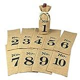 OYAMIHUI 1 to 10 Burlap Wine Bags Blind Tasting, Wine Bags Wedding...