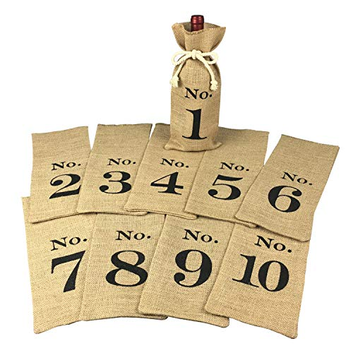 1 to 10 Burlap Wine Bags Blind Tasting, Wine Bags Wedding Table Numbers, Wine Tasting Bags, Set of 10