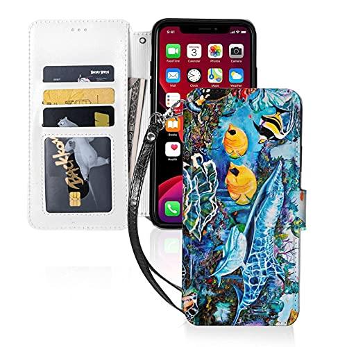 Estuche para teléfono LINGF,Estuche Sea Life Near Reef para iPhone 11 Estuche Lindo para Mujeres Hombres Estuche de Cuero con Billetera con Correa Estuche Protector