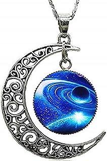 Legisdream Colgantes del Collar de la Luna y el Galaxy Medalla Diseño con Silver Joyería Ideas de Regalos para Cada ocasión