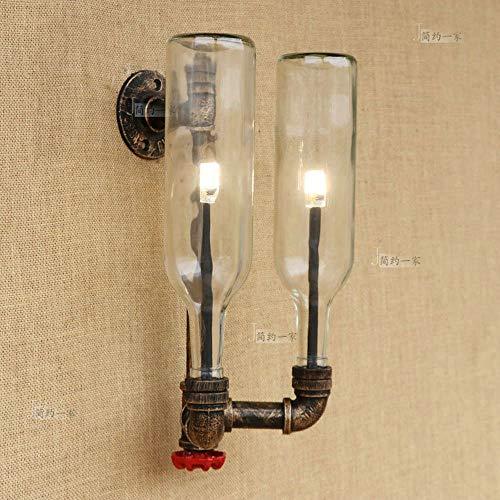 Wandlamp met dubbele kop, glazen fles, creatief, wandlamp, van metaal, steampunk, industrie, waterpijp, wandlamp van ijzer, voor café Villa woonkamer (kleur: barnsteen)