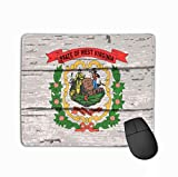 Mouse Pad Flag USA State West Virginia Wooden Background West Virginia State Flag Old Timber Rectangle Rubber Mousepad 11.81 X 9.84 Inch