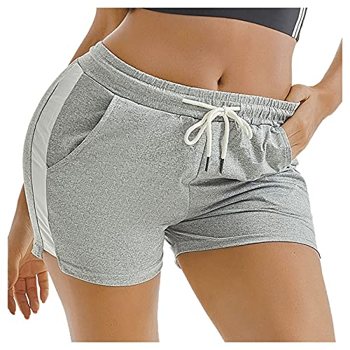 Shorts Damen Kurze Hose Sporthose Kurz Sommer Sweatshorts mit Tasche Tunnelzug Laufshorts Jogginghose Yogahose Damen Kurz Sportshorts Radlerhose Tanzshorts Sports Yoga Shorts